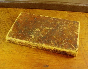 1816 Leather Bound Book James Greenwood London Vocabulary English Latin 1st American Edition Primitive Cabin Decor Shabby