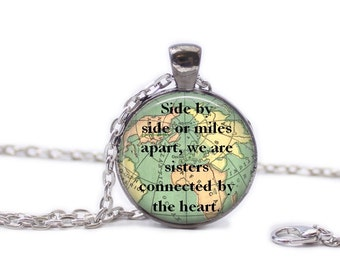 Sister Necklace Map Jewelry Travel Necklace World Map Necklace Gift for Sister