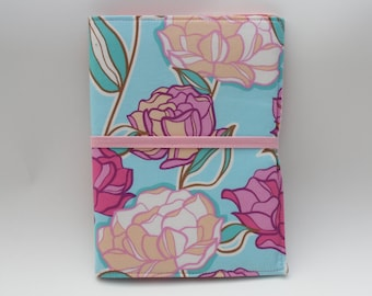 Notepad Organizer - Pastel Blue/Pink Floral Fabric (Notepad Included)