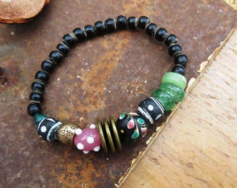 Promises Of The Dawn !!!! : tribal boho bracelet, old glass and ceramic beads from Mali-Africa