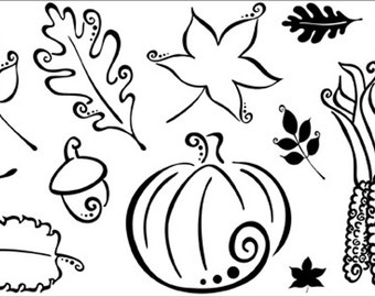 Unmounted Autumn Rubber Stamps- Pink Cat Studio