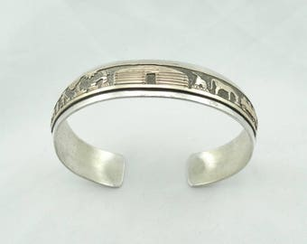 Signed L-M Navajo Native American Storytelling Vintage Silver and Gold Cuff Bracelet  #L-M STORY-CF5