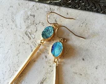 Druzy Earrings Gold,Druzy Gold Earrings,Spike earrings Gold,Druzy Drop earrings,Long Dangle Earrings,Druzy Dangle earrings,Drusy earrings