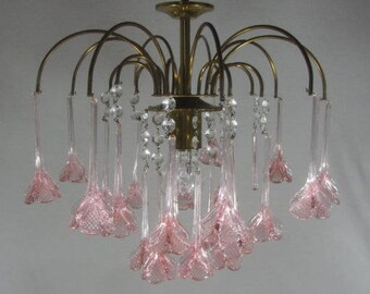 Vintage chandelier, Murano style, 3 tier pink drop chandelier, pink flower chandelier, Italian chandelier, pink floral ceiling light,