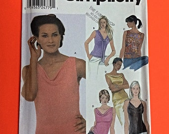 """TOPS, Summer knit/jersey tops, Size 6-8-10-12, Bust 30 1/2"""" to 34"""", also available in size 14-16-18-20. Simplicity 9626. Partial cut."""
