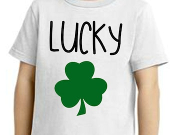 Lucky shirt, lucky clover shirt, st pattys day shirt, Lucky with clover, st patricks day