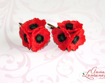 Ethnic wedding poppy Poppies Earrings Red Poppy Earrings Red Poppy Jewelry Red Flower Earrings Poppy accessories Bride Ethnic earrings Gift