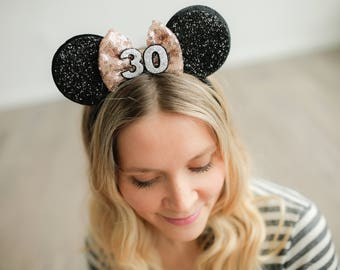 30th Minnie Ears With Rose Gold Bow || Minnie Mouse Ears || Disneyland Mouse Ears || Customize Any Number