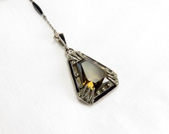 Spring Sale Circa 1920 Sterling Silver and Enamel Pendant set with Smoky Quartz