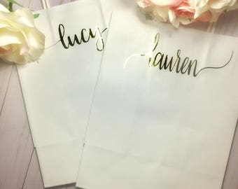 Personalized gift bags, bridal party bags, wedding gift bags