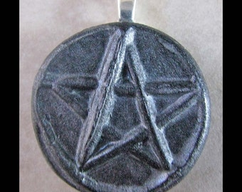 Pentagram, New Age, Wiccan,Viking, Pendant,  Polymer Clay, PENTACLE, Ancient Coin Style,Metaphysical,Pagan. Jewelry by Psychicmind101