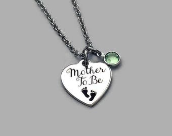Mother To Be Necklace, Mother To Be Charm, Mother Necklace, Pregnancy Necklace, Maternity Jewelry, Birthstone Necklace, Stainless Steel