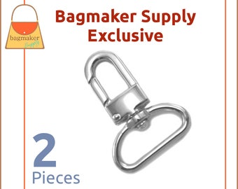"1 Inch Swivel Snap Hook, Nickel Finish, 2 Pack, Handbag Bag Making Hardware, Purse Supplies, 1"", Lobster Claw, SNP-AA100"