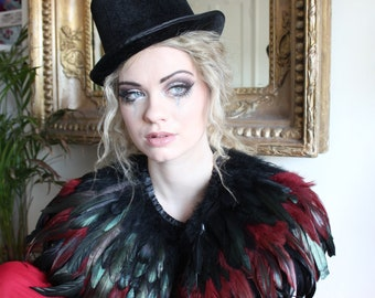 Black and maroon feather shrug, steampunk cape, feathered capulet