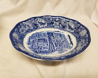 """Staffordshire Liberty blue  9"""" Oval serving bowl"""