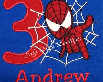 Spider Man Birthday Shirt with Number and Name*****Please Read Shop Announcement*****