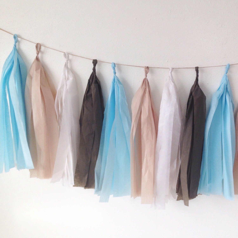 Tassel Garland In Brown Sky Blue White And Khaki Tissue Paper