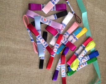 7 satin ribbons in different colors 80 cm long