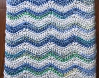 "Crochet Handmade Baby Blanket Afghan Stroller Car Seat Cradle Wrap Chevron Bulky Chunky Soft 30"" x 30"" TOY BOX YOYO Blue Green White New"