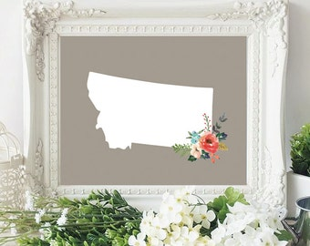 montana state silhouette floral 8x10 art print instant download