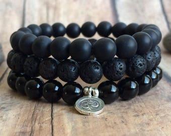 Yoga Stacking Bracelet | Set of Yoga Bracelets | Protection & Strength Stack | Negative Energy Protection | Stackable Black Bracelets
