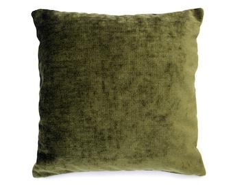 Olive Chenille Throw Pillow Cover, Decorative Pillow Cover, Accent Pillow Cover, Contemporary Pillow, Velvet Pillow Cover, Designer Pillows