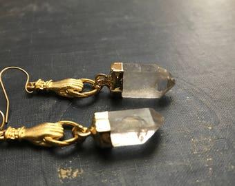 Quartz Earrings,Crystal Earrings,Gold Quartz Point Earrings,Gold Dipped Quartz,Gold Dipped Crystal,Raw Stone Earring,Figa,Mano Figa Earrings