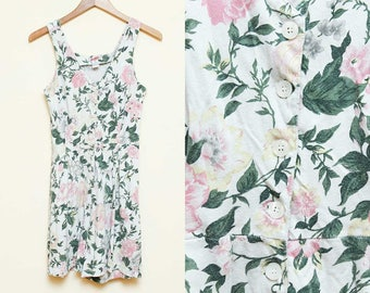 Floral Romper // White Jumper // 90s Sleeveless Shorts Jumpsuit Button Down Cotton Playsuit Ditsy Grunge Hipster Size Small
