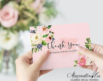 Watercolor Wedding Thank you Card, Floral Thank you Cards,  Baby Shower Thank you Note Cards, Bridal Shower Thank you Note, Folded Cards Set