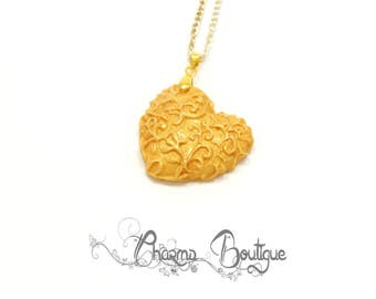 Gold Heart Necklace Dainty Heart Pendant Polymer Clay Pendant Lovely Gold Charm Valentines Day Gift Love Necklace Christmas day Gift for Her