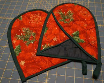 Red & Green Christmas Holly Oven Mitts - Set of Two