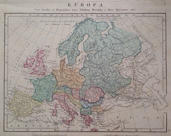 1865 EUROPA Original Antique Hand-Coloured Ancient History Map - Europe Continent Map - Classical Civilisations - Classics