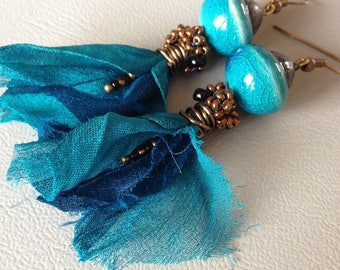 Ethnic style earrings, Bohemian chic, turquoise ceramics, sari silk and copper seed beads, creating Leamorphoses