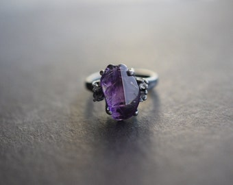 Raw Diamond and Amethyst Engagement Ring Rough Diamond Wedding Band Unique Gemstone Sterling Silver Promise Ring Size 5 Engagement