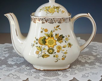 Vintage Sadler Teapot, Yellow Floral on Ivory, Full Size English Teapot, Yellow Flowers, Floral Teapot, Made in England, 1950s, Unused