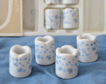 CANDLEHOLDER SET Blue and White Candleholders Set of Ten Thin Candleholders