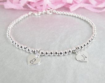 Sterling Silver Bead Layering Bracelet. Personalized Hand Stamped Heart Initial Charm. Gift for Mom and Grandma.