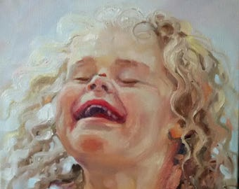 Children's laughter portrait Oil painting on canvas portrait in photo of a child Decor Gift Painting as a gift Child Laughter Joy Happiness