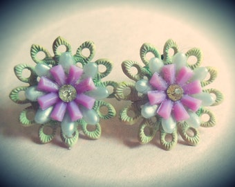 1950's Cute Plastic Flower Earrings with Rhinestone Center - handmade from Vintage New Old Stock materials - green and purple,Brass clip ons