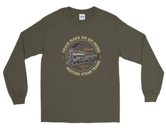 Long Sleeve T-Shirt for Steam Train and Locomotive Enthusiasts.