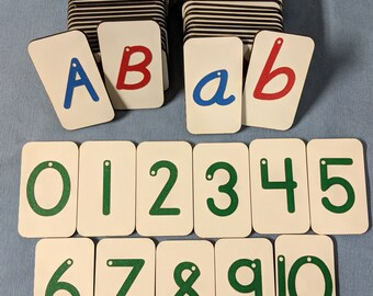 Mini Italic (style 6) Sandpaper letters Uppercase, Lowercase and Numbers 0-10