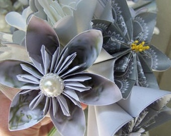 Silver Magic Bridal Bouquet of 5 Fancy Origami Flowers With Stems