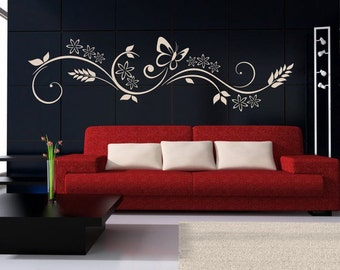 Wallsticker Ornament with butterfly (3045n)