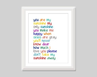 You Are My Sunshine Wall Art, Nursery Quote, Baby Girl or Baby Boy Nursery Decor, Multicolor Gender Neutral, I Love You, Kids Wall Art