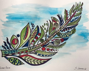 Feather flower (watercolor)