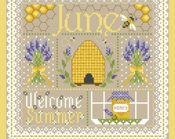 June Monthly Sampler Cross Stitch Chart PDF