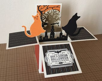 Handmade Halloween Card in a Box,pop up greeting card.