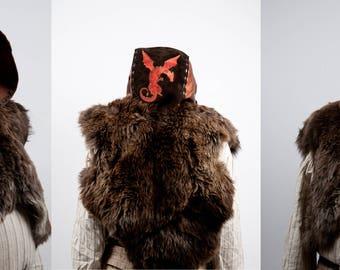 Larp large leather hood wizard warcraft cosplay costume fur armor copper dragon embroidery warlock sorcerer mystic hunter magic shaman brown
