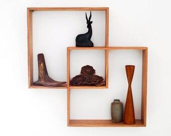 Corner Shelf Display Cabinet Book Vintage Mid Century Unit