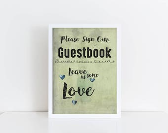 Guestbook Please Sign Wedding Sign Vintage Style Green Watercolour Print